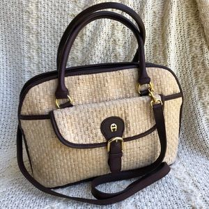 Vintage Etienne Aigner Leather & Woven Straw Bag